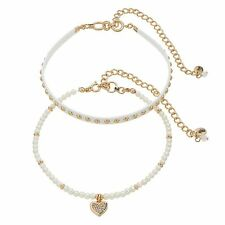 JUICY COUTURE gold tone Simulated Pearl & Studded Choker Necklace Set of 2 NEW