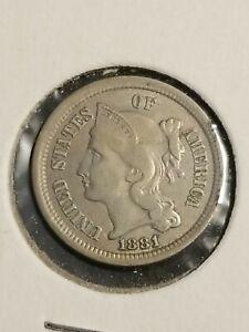 1881 U.S. Three Cent Nickel Coin XF+