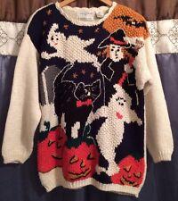 Vintage Halloween Spooky Sweater Kitsch Witch Ghost Pumpkin SZ S New NOS