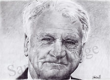 Bobby Robson A4 A3 A2 Print of original drawing Ipswich Newcastle by RussellArt
