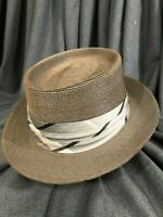 Dobbs Size 7 1/4-7 3/8  Brown/Gray Milan Straw Hat with Classic Ribbon