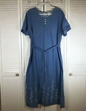 Blair Women's Denim Dress Size XLG Embroidery Long Modest Casual Blue Tie Back