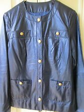 NWT ST.JOHN BLUE LEATHER JACKET SIZE 4