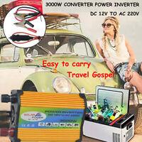 3000W Converter Power Inverter DC 12V to AC 220V Boat Car Solar USB Charger