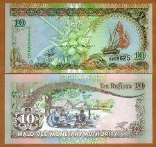 Maldives, 10 Rufiyaa, 1998, P-19 (19a), UNC > Sailboats
