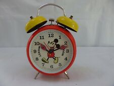 Mickey Mouse Vintage Alarm Clock Twin Bell Walt Disney Production Lovely Kids
