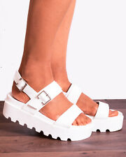WHITE BLACK CHUNKY BUCKLE CLEATED SLINGBACKS WEDGED PLATFORM WEDGES SANDALS SIZE