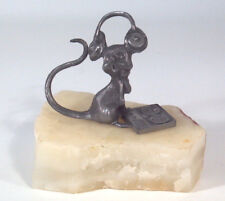 """Vintage DJ Mouse With Headphones On Rock Natural Stone Base 4"""" Pewter Figurine"""