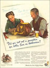 1944 WW II era AD BEER Brewing Industry Foundation Art Carving a pumpkin 022818
