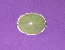VICTORIAN STERLING SILVER & MOSS AGATE PIN BROOCH ANTIQUE