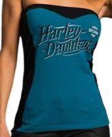Harley-Davidson Women's Small Tube top shirt Blue and black w/bra shelf Sexy