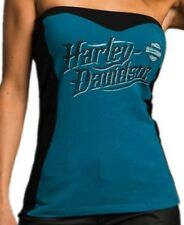 Harley-Davidson Women's Sexy Tube top shirt Blue and black w/bra shelf XL