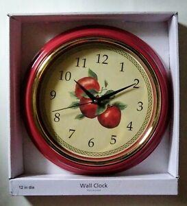 """Apples Kitchen Wall Clock 12"""" Round Kitchen Home Decor Red Frame Gold Trim"""