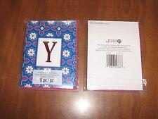 "New 2 Pkgs.=12 Blank Notecards & Envelopes - Red Foil Initial ""Y""- STUDIO 18"
