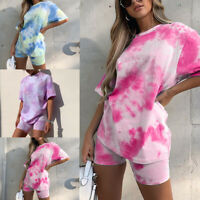 Two-Piece Tie-dye Printed Women Summer Top + Shorts Pants Set Casual Sports Suit