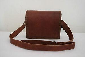 New Men Genuine Vintage Small Brown Leather Messenger Bag Shoulder tote bag