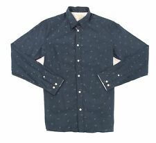 SELECTED HOMME NEW Blue Mens Medium M Polka Dot Button Down Cotton $85