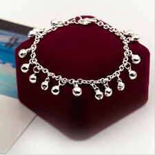 Trendy Women Girls Silver Plated Bell Ringing Bangle Chain Bracelet Cuff Hoop