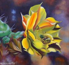 Original Oil Painting 24x24 Cactus flower - Gold Gatherer Artist Signed 2000-Now