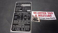 Jeep MUTT M151A1 NOS Nomenclature data plate 100% original (P52)