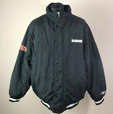 Vintage Oakland Los Angeles RAIDERS REEBOK Winter Jacket Men's Size L Puffer Top