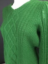 Pendleton Women's Sweater Green Cable Knit Mohair Wool Blend V Neck Sweater -A47