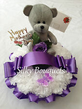 Silk Flower Teddy Wreath Ring Tribute Artificial Funeral Flower