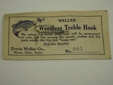Vintage Weller Weedless Treble Hook Erwin Weller 801