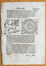Wolfhart Chronicon Rare Woodcut Leaf Monster Sun (551) - 1557