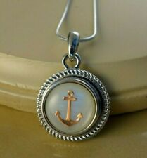 ANCHOR marine Snap Button pendant W/Steel Necklace jewelry gifts for women