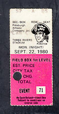 Pittsburgh Pirates vs Montreal Expos September 20 1980 Vintage Ticket Stub