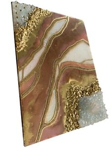 Geode Resin Glitter Glass Brown White Gold Crystal Picture Wall Art