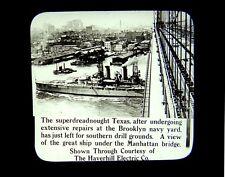 2 Magic Lantern Slides USS Texas Manhattan Bridge 1915 Brooklyn Navy Yard c.1900