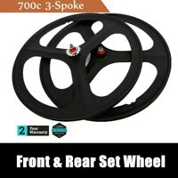 Fixed Gear Wheelset Rear Front 700c Tri Spoke Track Wheel Clincher Black Wheel
