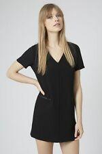 -% ex TOPSHOP Black Crepe Zip Front Dress Tunic MUST HAVE UK 6 8 10 RRP £45