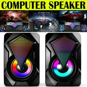 LED Surround Sound Speakers Wired for Desktop Computer Gaming Bass USB System PC