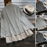 ZANZEA Women High Neck Long Sleeve Tops Shirt Lace Stripe Loose Tee Basic Blouse