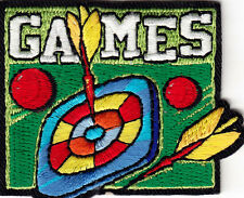 """GAMES"" PATCH - Iron On Embroidered Patch /Sports, Games, Competition, Fun,Video"
