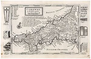 Old Vintage Antique Cornwal map Moll ca. 1724