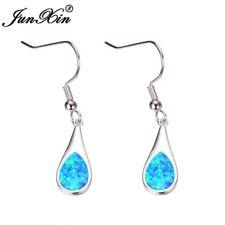 Beautiful 925 Sterling Silver Blue Fire Opal Water Drop Oval Hook Earrings