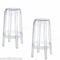 """Set Of 2 Clear Round Counter Stools Acrylic Ghost Transparent 26.5"""" Hgt Modern"""