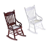 Miniature Wooden Rocking Chair Furniture Model for 1/12 Scale Dollhouse BS OZT