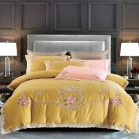Luxury 1000TC Egyptian Cotton Embroidery Bedding Set Lace Cover Set Bed Sheet