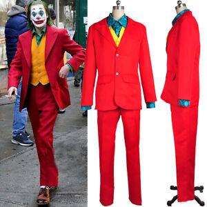 2019 Movie Joker Suit Arthur Fleck Fancy Dress Costume Men Clown Cosplay Outfit`