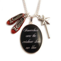 Somewhere over the rainbow necklace WIZARD OF OZ charm Dorothy ruby red slippers