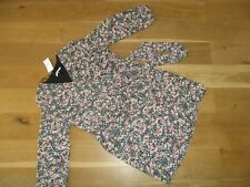 Ladies George BNWT £16 black mix floral long sleeve belted wrap dress size 22