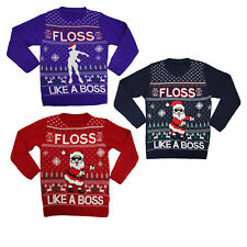 Unisex Boys Girls Kids Christmas Santa Floss Like Boss Novelty Sweater Jumper