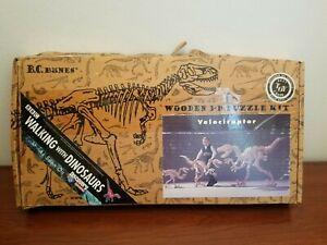 "Wooden 3D Puzzle Velociraptor B.C. Bones Small 21"" x 36"" Complete"
