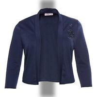 elegant Abend Jersey Bolero Gr.48/50 MARINE BLAU Jacke Applikation Stretch