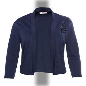 elegant Abend Jersey Bolero Gr.58/60 MARINE BLAU Jacke Applikation Stretch